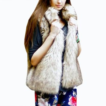 2017 Fur Vest Winter Women Luxury Sleeveless Faux Fur Coats Furry Slim Fake Warm Jacket Ladies Shaggy Coat chaqueta pelo mujer