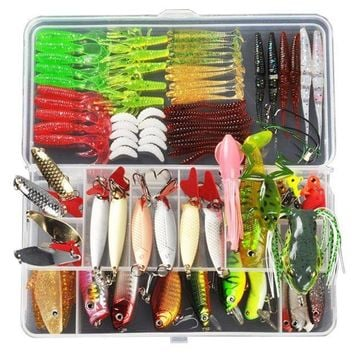 ICIK7N3 ALLBLUE Fishing Lure  Minnow/Popper/Wobbler Spoon Metal Lure Soft Bait Fishing Lure Kit Isca Artificial Mixed Color/Style/Weight