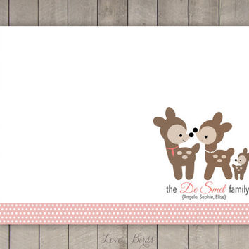 Personalized Deer Family Note Card