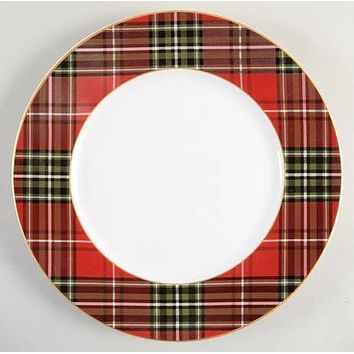 Tartan Plaid Red & Green Christmas Dinner Plates Set of 4 NEW 222 Fifth Wexford