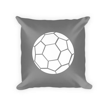 Kids Soccer Ball Woven Cotton Throw Pillow