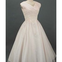 Authentic 1950s Tea Length Dress-50s Lace Silk Wedding Dress