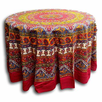"Handmade Mandala  Printed 100% Cotton Tablecloth 76"" Round & 90"" Round Red"