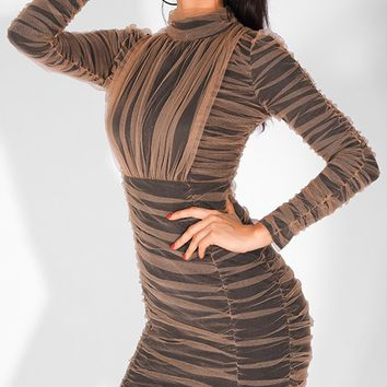 Don't Mesh With Me Black Brown Mesh Long Sleeve Mock Neck Ruched Bodycon Mini Dress