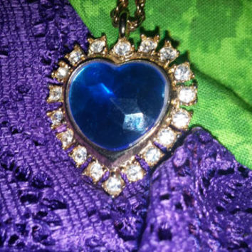 Vintage Sapphire Blue Crystal Rhinestone Heart Pendant Necklace - Free Shipping