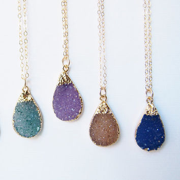 Druzy Drusy Necklace Teardrop Gold Filled Necklace Women's Necklace