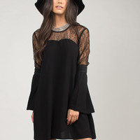 Lace Boho Bell Sleeve Dress - Large