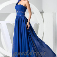 Custom Handmade Cheap One Shoulder Blue Beaded A Line Fold Floor Length Formal Long Evening/Prom/Party/Bridesmaid/Homecoming/Cocktail Dress