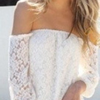 Women's Sexy Off The Shoulder Long Sleeve Lace Blouse = 5987826113