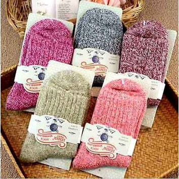 5 Pairs Women Wool Cashmere Thick Warm Soft Solid Casual Sports Socks Winter [8833916364]