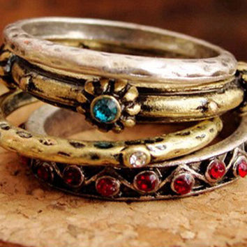 Vintage Crystal Finger Rings Gothic Style