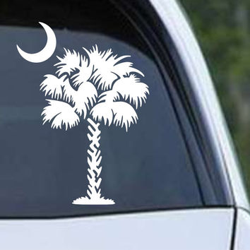 South Carolina Palmetto Palm Beach Moon SC (01) Die Cut Vinyl Decal Sticker