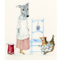 Print Dog Kitchen Maid and Chicken Cook by ChasingtheCrayon