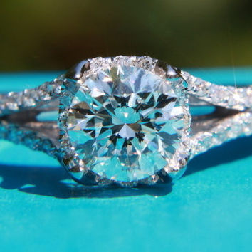 CUSTOM Made - 1.00ct  Round - Split Shank-  Halo - Pave - Antique Style - Diamond Engagement Ring 14K white gold - Weddings- Luxury- Brides