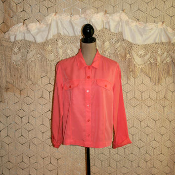 Orange Peach Blouse Womens Shirt Spring Blouse Casual Blouse Button Up Blouse Spring Clothing Size 14 Size 16 Large XL Womens Clothing