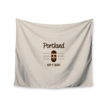 "Juan Paolo ""Original Hipster"" Beige Typography Wall Tapestry"
