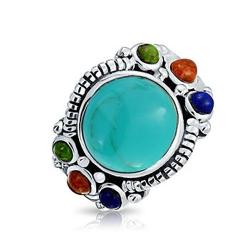 Gemstone Cluster Cabochon Enhanced Turquoise Ring 925 Sterling Silver