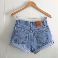 Vtg 550 Light Wash Levi's High Waisted Cut Off Denim Shorts Mom Jean Cuffed 27""