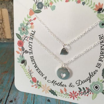 Mother of the Bride Gift, Mom and Daughter Jewelry, Mom Necklace, Mother Daughter Gift, Mother Daughter Jewelry, Mother Necklace, Silver