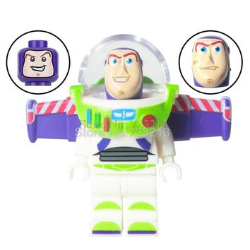 Single Sale Toy IV Story SY Buzz Lightyear Figure with 3 HEAD Building Blocks Set Models Educational Toys for children