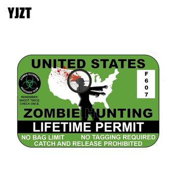 YJZT 20x13.3cm Funny ZOMBIE Hunting PermitTHE WALKING DEAD Car-styling Car Sticker Decals C1-8041