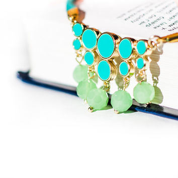 summer fashion statement mint necklace mint leather mint enamel with light green quartz fashion  rusteam