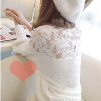 Hollow Out Hook Flower Bud Silk Lantern Sleeve Sweater
