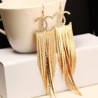 YSL long tassel stud earrings