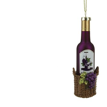 "6.25"" Tuscan Winery Purple Glass Wine Bottle in Basket Christmas Ornament"