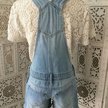 Denim Short Overalls Hand Embroidered Floral Pink dungarees Light Wash Junior Size Small-XS