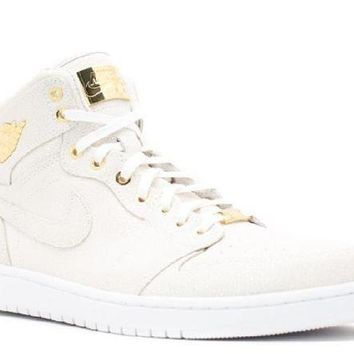 PEAPN Ready Stock Nike Air Jordan 1 Pinnacle Pinnacle White Metallic Gold Basketball Sport Shoes