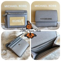 NWT MICHAEL KORS LEATHER JET SET TRAVEL CARD CASE ID KEY HOLDER IN PEARL GREY