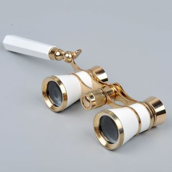 White Opera Glasses 3x25 Brass Binocular Telescope with Handle