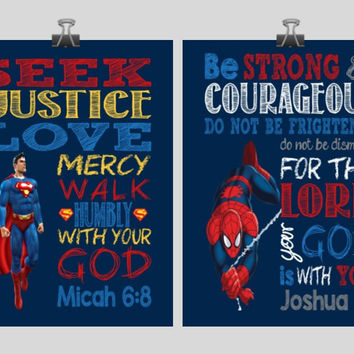 Christian Superhero Nursery Decor Art Print Set of 2 Superman and Spiderman Bible Verses - Multiple sizes