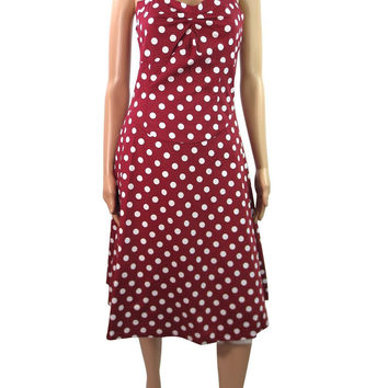 Retro Mod 60's Rockabilly Pinup Red & White Polka Dot Halter Dress