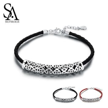 SA SILVERAGE 925 Sterling Silver Black/Red Vintage Leather Bracelets Bangles For Women 925 Silver Chinese Coins Charm Bracelets