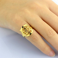 sterling silver Cat Monogram Ring - Cat ring - Monogram ring - Very cute