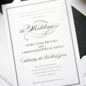 Black and Gold Wedding Invitation - DEPOSIT