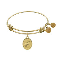 Non-Antique Yellow Stipple Finish Brass Initial J Angelica Bangle, 7.25 Inches Adjustable