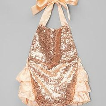 RUFFLE ROMPER, satin, sequin, coral, peach, rose gold, mint green, baby girl, toddler 0-6 9 12 2 2T 3 3T birthday, photo, bubble romper