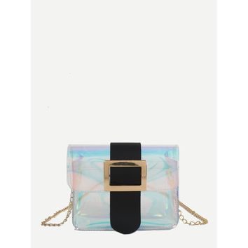 Iridescent Detail Buckle Chain Bag