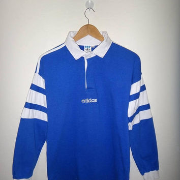 a1ee0d937 On Sale 25% Off Rare ADIDAS Rugby Vintage Shirt Long Sleeve Spel