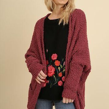 Umgee open front sweater cardigan with pockets