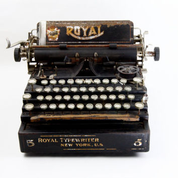Royal No. 5 Antique Typewriter - Decorative Antique Typewriter - Royal Flatbed Antique Typewriter, Rustic, Decorative, Beautiful