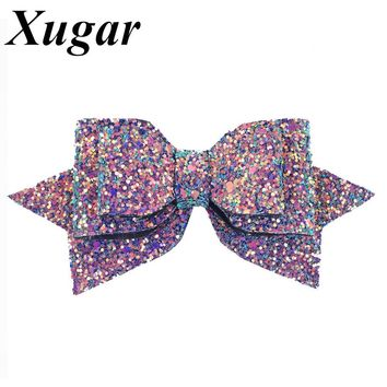 5'' Boutique Bowknot Princess Hairgrips Glitter Bling Hair Bows with Clip Dance Party Girls Hairpins Hair Accessories