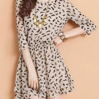 Printed Puff Sleeve Chiffon Dress XX0002