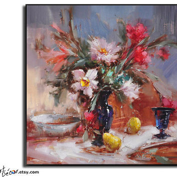 Abstract Art Flower Oil Painting Still Life Painting Large Canvas Art, Wall Art Decor, Living Room Art, Bedroom Art,