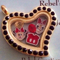 Daisy Duck and Minnie Mouse Disney Themed Floating Charm Memory Locket