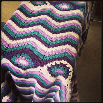 OOAK Statement Chevron Handmade Crochet Motif Afghan - Purples Teal and Cream Blanket/Throw