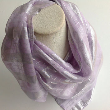 Summer Wedding Scarves Lilac Lavender scarf, Silver Stripes, Wedding Dress scarf, Gift for Mother in Law, Amethyst Scarf, Large 40X40 square